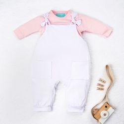 Conjunto Jardineira e Body Manga Longa Baby Basics Rosa e Branco 02 Peças