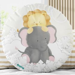Almofada Redonda Leãozinho e Elefante Aquarela 30cm