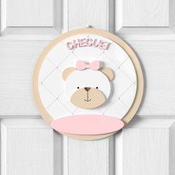 Porta Maternidade Personalizado Ursa Rosa Clássico