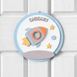 Porta Maternidade Personalizado Foguete Patchwork Azul