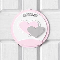Porta Maternidade Personalizado Coração Rosa e Cinza
