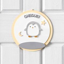 Porta Maternidade Personalizado Pinguim Estrelinha