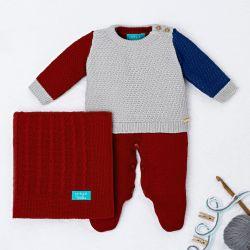 Saída Maternidade Tricot Tricolor Manta Vermelho 03 Peças