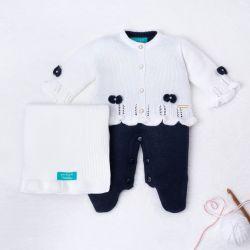 Saída Maternidade Tricot Tricot Ladylike Pérola Branco e Azul Marinho 03 Peças