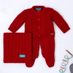 Saída Maternidade Tricot Elegante Vermelho 03 Peças