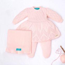 Saída Maternidade Tricot Primeiro Vestidinho com Pérolas Rosa 03 Peças