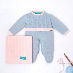Saída Maternidade Tricot Trança Lacinho Azul e Rosa 02 Peças