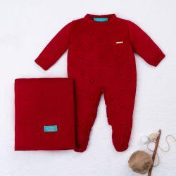 Saída Maternidade Tricot Bolinha Vermelho 02 Peças