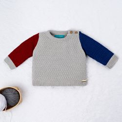 Casaquinho Tricot Tricolor Azul, Vermelho e Cinza