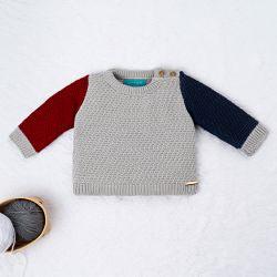 Casaquinho Tricot Tricolor Azul Marinho, Vermelho e Cinza
