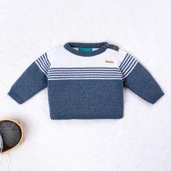 Casaquinho Tricot Listra Azul Jeans