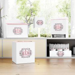 Kit Higiene MDF Coroa Arabesco Rosa e Cinza