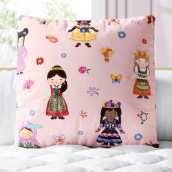 Almofada Quadrada Meninas do Mundo Rosa