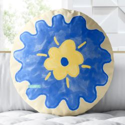 Almofada Redonda Flor Miosótis Azul e Amarelo 33cm