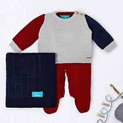 Saída Maternidade Tricot Tricolor Manta Azul Marinho 03 Peças