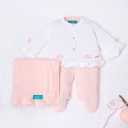 Saída Maternidade Tricot Tricot Ladylike Pérola Branco e Rosa 03 Peças