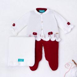 Saída Maternidade Tricot Tricot Ladylike Pérola Branco e Vermelho 03 Peças