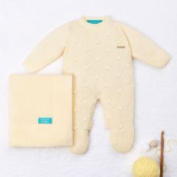 Saída Maternidade Tricot Bolinha Amarelo 02 Peças