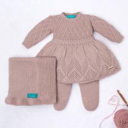 Saída Maternidade Tricot Primeiro Vestidinho com Pérolas Nude Rosé 03 Peças