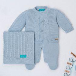 Saída Maternidade Tricot Elegante Azul 03 Peças