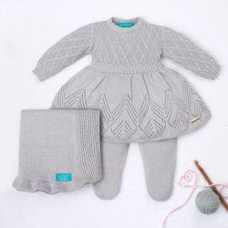 Saída Maternidade Tricot Primeiro Vestidinho com Pérolas Cinza 03 Peças