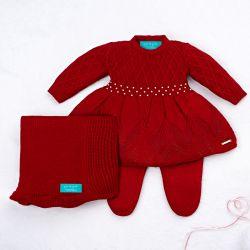 Saída Maternidade Tricot Primeiro Vestidinho com Pérolas Vermelho 03 Peças