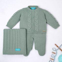 Saída Maternidade Tricot Elegante Verde 03 Peças