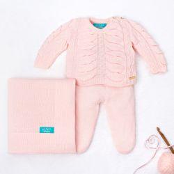 Saída Maternidade Tricot Drapeado Pérola Rosa 03 Peças