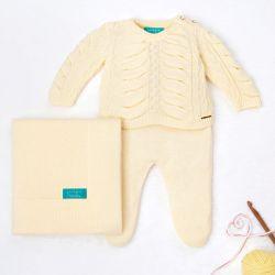 Saída Maternidade Tricot Drapeado Pérola Amarelo Camomila 03 Peças