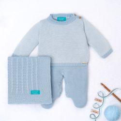 Saída Maternidade Tricot Micro Chevron Azul e Branco 03 Peças