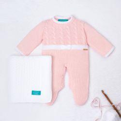 Saída Maternidade Tricot Trança Lacinho Rosa e Branco 02 Peças
