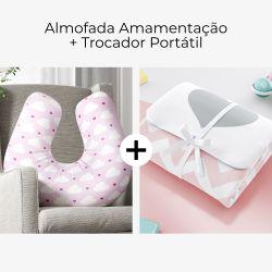 Almofada Amamentação Nuvem Coração Rosa + Trocador de Fraldas Portátil Coração Chevron 2 Peças