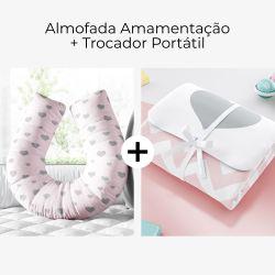 Almofada Amamentação Coração Rosa e Cinza + Trocador de Fraldas Portátil Coração Chevron 2 Peças