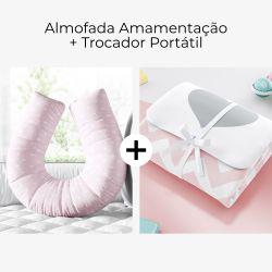 Almofada Amamentação Coração Petit Rosa e Cinza + Trocador de Fraldas Portátil Coração Chevron 2 Peças