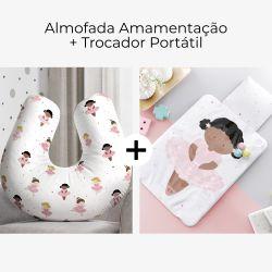 Almofada Amamentação Bailarinas Baby + Trocador de Fraldas Portátil Bailarina Ingrid 2 Peças