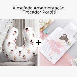 Almofada Amamentação Bailarinas Baby + Trocador de Fraldas Portátil Bailarina Aninha 2 Peças