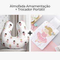 Almofada Amamentação Bailarinas Baby + Trocador de Fraldas Portátil Bailarina Deborah 2 Peças