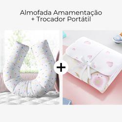 Almofada Amamentação Granulado Colorido + Trocador de Fraldas Portátil Casinha Doce Encanto 2 Peças