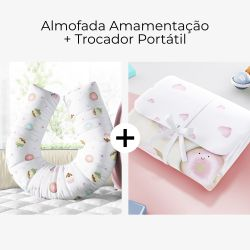 Almofada Amamentação Docinho Colorido + Trocador de Fraldas Portátil Casinha Doce Encanto 2 Peças