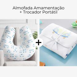 Almofada Amamentação + Trocador de Fraldas Portátil Carrinho, Ônibus e Trem Azul 2 Peças