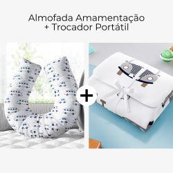 Almofada Amamentação + Trocador de Fraldas Portátil Carrinho, Ônibus e Trem Azul Marinho 2 Peças