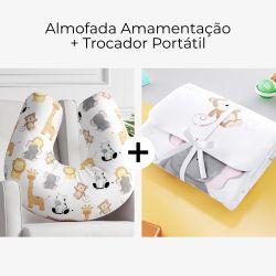 Almofada Amamentação + Trocador de Fraldas Safári Aquarela 2 Peças
