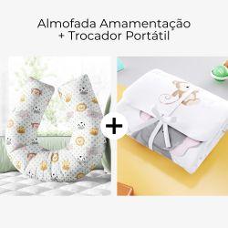 Almofada Amamentação Amiguinhos Safári Poá + Trocador de Fraldas Safári Aquarela 2 Peças