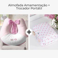 Almofada Amamentação + Trocador de Fraldas Amiguinhas Safári Rosa 2 Peças