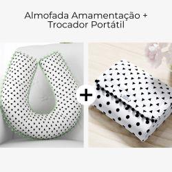 Almofada Amamentação + Trocador de Fraldas Triângulos Branco e Preto 2 Peças