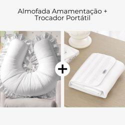 Almofada Amamentação + Trocador de Fraldas Branco Clássico 2 Peças