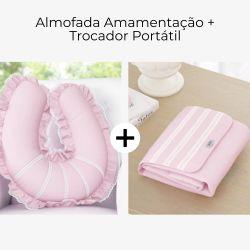 Almofada Amamentação + Trocador de Fraldas Rosa Clássico 2 Peças