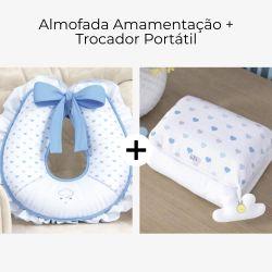Almofada Amamentação + Trocador de Fraldas Chuva de Amor Azul 2 Peças