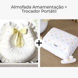 Almofada Amamentação + Trocador de Fraldas Chuva de Amor Amarelo 2 Peças