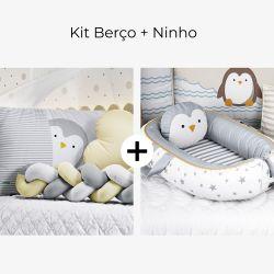 Kit Berço Trança Pinguim Estrelinha + Ninho para Bebê Redutor de Berço Pinguim Estrelinha